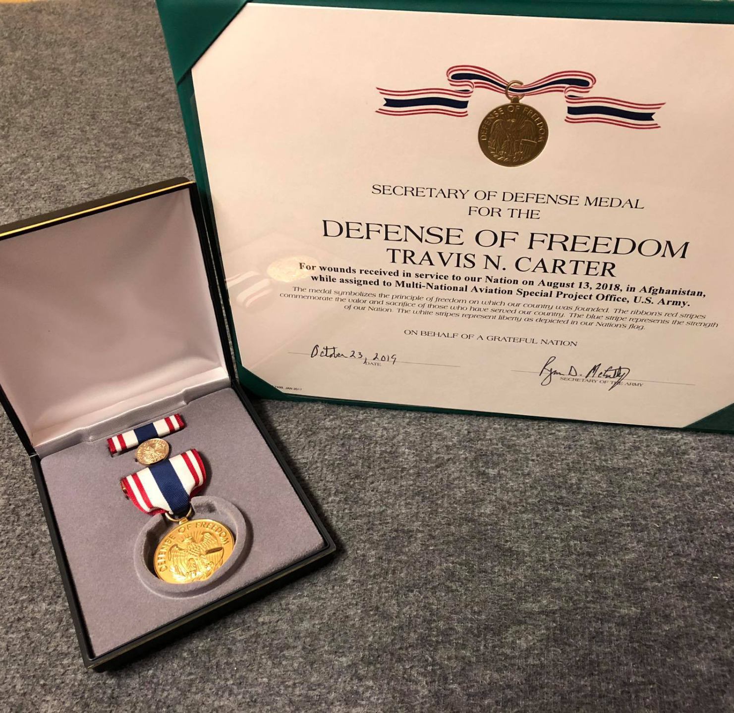 Travis Carter Defense of Freedom Medal square